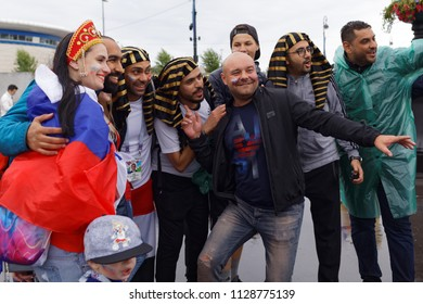 ST. PETERSBURG, RUSSIA - JUNE 19, 2018: Egyptian and Russian football fans make photo at Saint Petersburg Stadium before the FIFA World Cup 2018 match Russia vs Egypt. Russia won 3-1