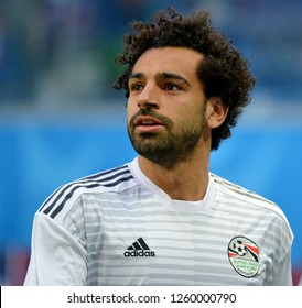 St Petersburg, Russia - June 19, 2018. Egyptian football star Mohamed Salah before World Cup 2018 match Russia vs Egypt.