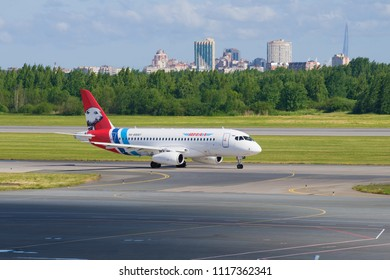ST PETERSBURG, RUSSIA - JUNE 20, 2018: Sukhoi Superjet 100 (RA-89087) Yamal Airlines on the taxiway of Pulkovo Airport