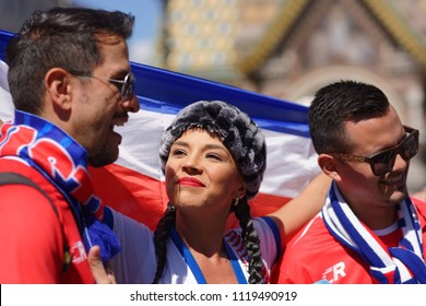 ST. PETERSBURG, RUSSIA - JUNE 20, 2018: Costa Rican football fans at FIFA Fan Fest in Saint Petersburg during FIFA World Cup Russia 2018. The city host 7 matches of FIFA World Cup
