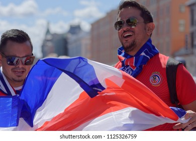 ST. PETERSBURG, RUSSIA - JUNE 20, 2018: Costa Rican football fans in Saint Petersburg during FIFA World Cup Russia 2018. Saint-Petersburg hosts 7 matches of FIFA World Cup