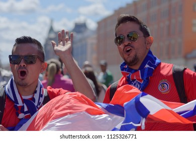 ST. PETERSBURG, RUSSIA - JUNE 20, 2018: Costa Rican football fans crying Goal  in Saint Petersburg during FIFA World Cup Russia 2018. Saint-Petersburg hosts 7 matches of FIFA World Cup