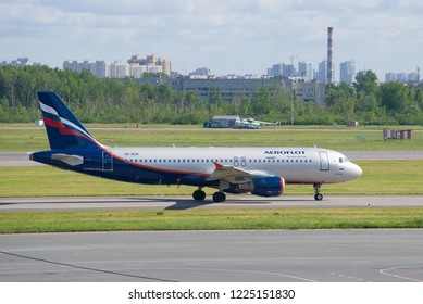 """ST. PETERSBURG, RUSSIA - JUNE 20, 2018: The Airbus A320 """"Vladimir Chelomey""""  (VQ-BCN) of Aeroflot airline on the taxiway of Pulkovo Airport"""