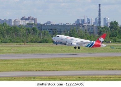 ST. PETERSBURG, RUSSIA - JUNE 20, 2018: The Sukhoi Superjet 100 (RA-89087) of Yamal Airlines on take-off. Pulkovo Airport