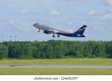 ST. PETERSBURG, RUSSIA - JUNE 20, 2018: Take-off of the Airbus A320-214 (VQ-BCN) of Aeroflot airline on Pulkovo Airport