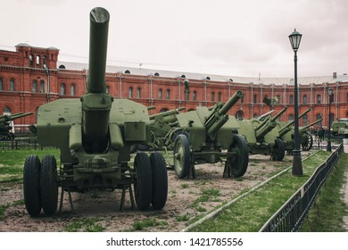 St. Petersburg / Russia - June 2012: the yard of the Artillery Museum, the guns are in a row