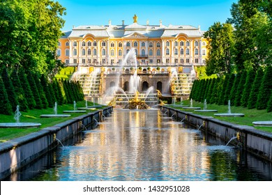 St. Petersburg, Russia - June 2019: Grand Cascade of Peterhof Palace, Samson fountain and Fountain alley