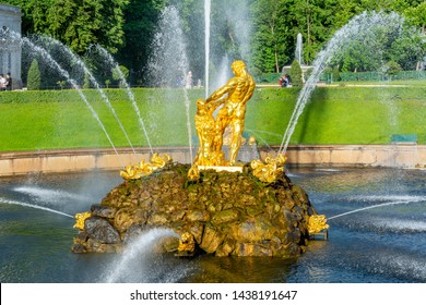 St. Petersburg, Russia - June 2019: Samson fountain in Lower park of Peterhof