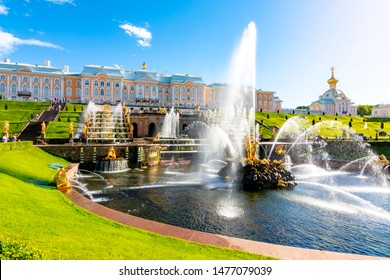 St. Petersburg, Russia - June 2019: Grand Cascade of Peterhof Palace and Samson fountain