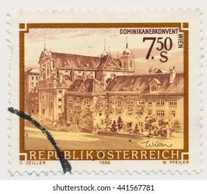 ST. PETERSBURG, RUSSIA - JUNE 21, 2016: A postmark printed in Austria, shows Dominican monastery, Wien, circa 1986