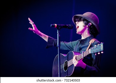 ST. PETERSBURG, RUSSIA - JUNE 21, 2017: Concert of LP (Laura Pergolizzi) at the Ice Palace