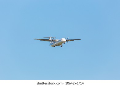 """ST. PETERSBURG, RUSSIA - JUNE 22, 2016: Airline """"NORRA - Nordic Regional Airlines"""" ATR 72 with identification OH-ATL landing in Pulkovo airport (LED)"""