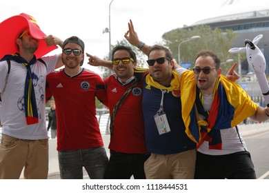 ST. PETERSBURG, RUSSIA - JUNE 22, 2018: Costa Rican football fans going to the Saint Petersburg stadium to support their team in the match of FIFA World Cup 2018 against Brazil. Brazil won 2-0