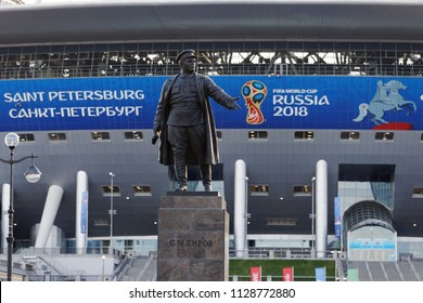 ST. PETERSBURG, RUSSIA - JUNE 23, 2018: Monument to Sergey Kirov at Saint Petersburg Stadium during FIFA World Cup Russia 2018. Saint-Petersburg hosts 7 matches of FIFA World Cup