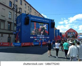 ST. PETERSBURG, RUSSIA - June 23, 2018: World Cup. Fan zone of fans.