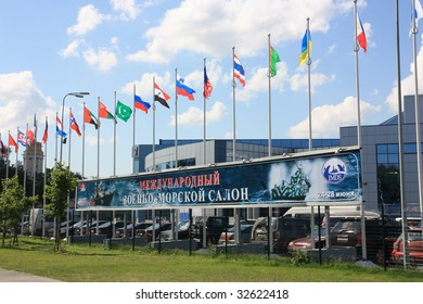 ST. PETERSBURG, RUSSIA - JUNE 24: The banner of the 4th International Maritime Defence Show IMDS-2009, June 24-28 in St. Petersburg, Russia