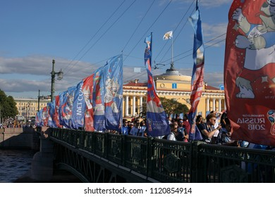 ST. PETERSBURG, RUSSIA - JUNE 25, 2018: Argentinian football fans singing on the Palace bridge in Saint-Petersburg on the day before FIFA World Cup 2018 match Argentina vs Nigeria