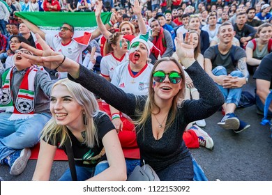 St. Petersburg, Russia - June 25, 2018:  Two Russian girls in fan zone of World Cup 2018 during football match between teams of Iran and Portugal.