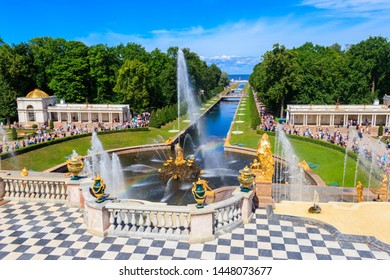 "St. Petersburg, Russia - June 25, 2019: View of ""Samson"" fountain and sea channel in lower park of Peterhof in Saint Petersburg, Russia"