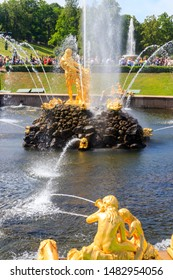 St. Petersburg, Russia - June 25, 2019: Samson Fountain in lower park of Peterhof in Saint Petersburg, Russia