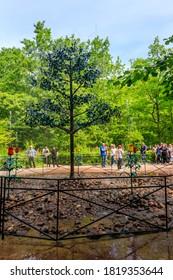St. Petersburg, Russia - June 25, 2019: Fountain-cracker Oak tree in lower park of Peterhof in Saint Petersburg, Russia