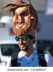 ST. PETERSBURG, RUSSIA - JUNE 26, 2018: Argentinian football fan in masks of Lionel Messi at Saint Petersburg stadium during FIFA World Cup 2018 before the match Argentina - Nigeria. Argentina won 2-1