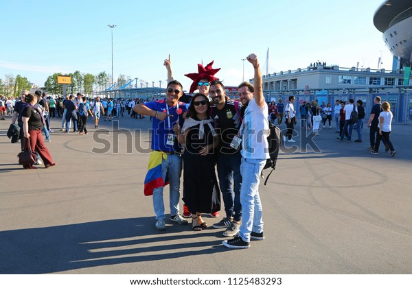 ST. PETERSBURG, RUSSIA - JUNE 26, 2018: Football fans are happy before the game with teams of Argentina and Nigeria on the square near the Saint-Petersburg Stadium. FIFA 2018 World Cup.