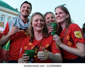 ST. PETERSBURG, RUSSIA - JUNE 28, 2018: Belgian football fans make photo at FIFA Fan Fest in Saint Petersburg during the FIFA World Cup 2018 match Belgium vs England. Belgium won 1-0