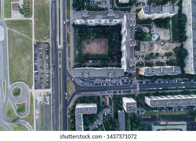 ST PETERSBURG, RUSSIA - JUNE 28, 2019: Aerial Townscape of Saint Petersburg City Kalininsky district