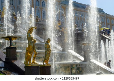 St Petersburg, Russia - June 29, 2018: The gilded statues and fountains of the Grand Cascade at Peterhof Palace in Petergof.