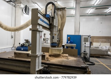 St. Petersburg, Russia - June 29, 2016: Large milling machine for chipboard and wood for the manufacture of parts of complex configuration at the plant of transport engineering