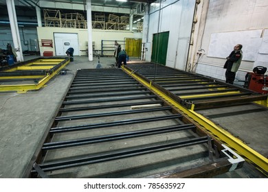 St. Petersburg, Russia - June 29, 2016: Shop assembly of metal frames for the subway cars.