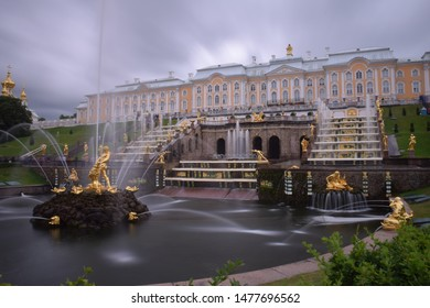 St Petersburg, Russia - June 30 2018: Grand Fountain of the Peterhof Palace