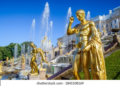 ST PETERSBURG, RUSSIA - JUNE 30, 2019: Statues of the Grand Cascade in Peterhof Palace. It's a series of royal palaces and gardens located in Petergof