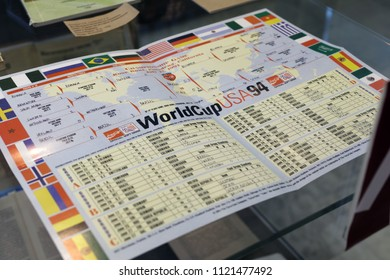 """ST. PETERSBURG, RUSSIA - JUNE 7, 2018: Schedule of FIFA World Cup USA 1994 in the exhibition """"Goal!!! FIFA World Cups history"""" in the National Library of Russia. It is dedicated to FIFA World Cup 2018"""