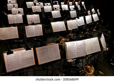 St. Petersburg, Russia - June 7, 2014: Document stand and sheet music in the orchestra of the Mariinsky Theatre, the new hall.