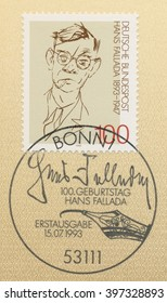 ST. PETERSBURG, RUSSIA - MAR 28, 2016: A first day of issue postmark printed in Bonn, Germany, shows portrait of Hans Fallada(1893-1947), Novelist, circa 1993