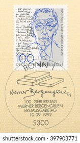 ST. PETERSBURG, RUSSIA - MAR 28, 2016: A first day of issue postmark printed in Bonn, Germany, shows portrait of Werner Bergengruen (1892-1964), Writer and signature, circa 1992