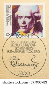 ST. PETERSBURG, RUSSIA - MAR 28, 2016: A first day of issue postmark printed in Bonn, Germany, shows portrait of Georg Christoph Lichtenberg (1742-99), Physicist, circa 1992