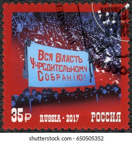 ST. PETERSBURG, RUSSIA - MARCH 02, 2017: A stamp printed in Russia dedicated Constituent Assembly, series The 100th Anniversary of the Great Russian Revolution, 2017