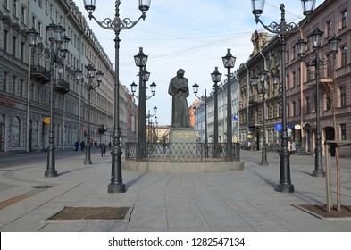 ST. PETERSBURG, RUSSIA - MARCH 10, 2015 - Monument to N. Gogol on Malaya Konyushennaya (Small Stables) Street,  one of the central streets in Saint-Petersburg, Russia
