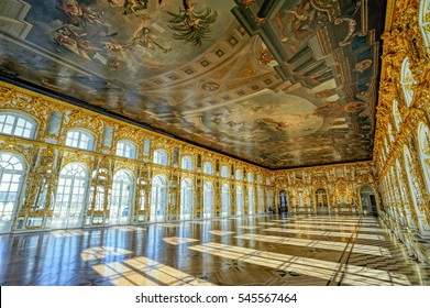 ST. PETERSBURG, RUSSIA - March 16, 2015: Catherine's Palace ballroom hall in Tsarskoe Selo (Pushkin), St. Petersburg, Russia