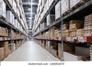 ST. PETERSBURG, RUSSIA - MARCH, 2019: Warehouse storage in an IKEA store. Founded in 1943, IKEA is the world's largest furniture retailer. IKEA operates 351 stores in 43 countries.