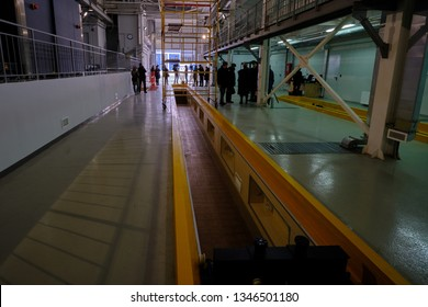 St. Petersburg, Russia - March 22, 2019: Huge transport box at customs to inspect vehicles from below. Large pit to control the bottoms of trucks.