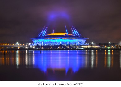 "St. Petersburg, Russia, March 26, 2017: Football stadium ""Zenit Arena"", where there will be a Cup of Confederations 2017 and the World Cup 2018"