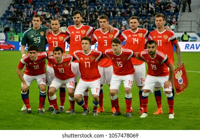 St Petersburg, Russia - March 27, 2018. National team of Russia before international friendly match against France at St Petersburg stadium.