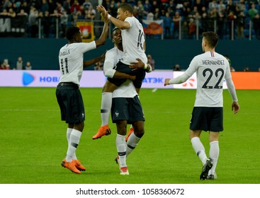 St Petersburg, Russia - March 27, 2018. French players Kylian Mbappe, Ousmane Dembele, Paul Pogba and Lucas Hernandez celebrating after Mbappe opened the score in Russia vs France match.