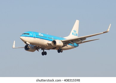 ST. PETERSBURG, RUSSIA - MARCH 28, 2016: The Boeing 737 (PH-BGF) KLM Royal Dutch Airlines landing at Pulkovo airport