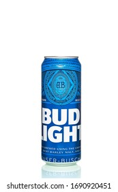 St. Petersburg, Russia, March 30, 2020. Bud light blue, metal can, on a white background, top new