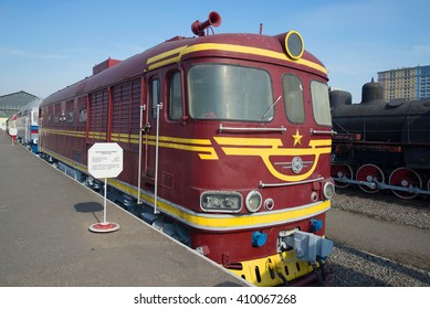 ST. PETERSBURG, RUSSIA - MARCH 30, 2016: Passenger locomotive TEP-60 at the railroad Museum
